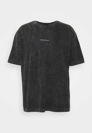 OVERSIZED ACID WASH BRANDED BACK - T-shirt print - grey