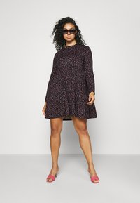 Simply Be - SOFT TOUCH TIERED SMOCK DRESS - Jerseykjole - dark red - 1