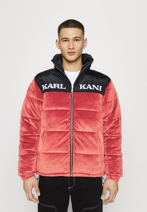 RETRO VELVET BLOCK PUFFER UNISEX - Winter jacket - dark red