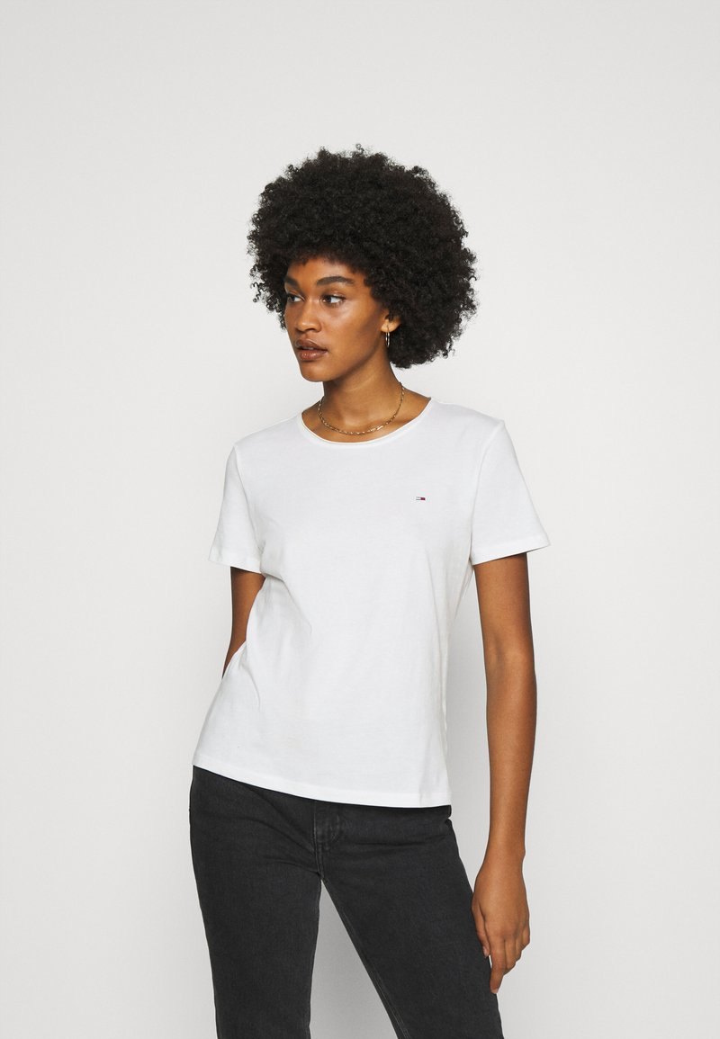 Tommy Jeans - SLIM CNECK - Basic T-shirt - white