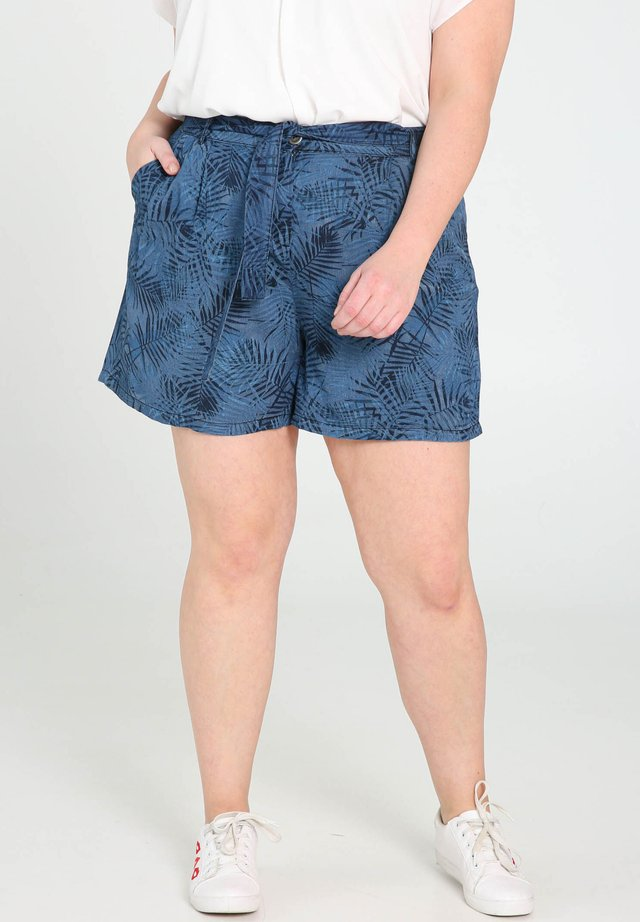 MIT PALMENBLÄTTER-PRINT - Shorts - denim