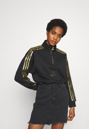 TREFOIL QUARTER ZIP LONG SLEEVE PULLOVER - Bluza - black