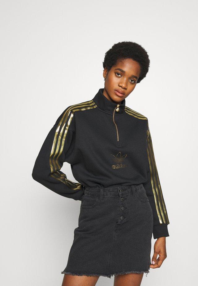 TREFOIL QUARTER ZIP LONG SLEEVE PULLOVER - Sweatshirt - black