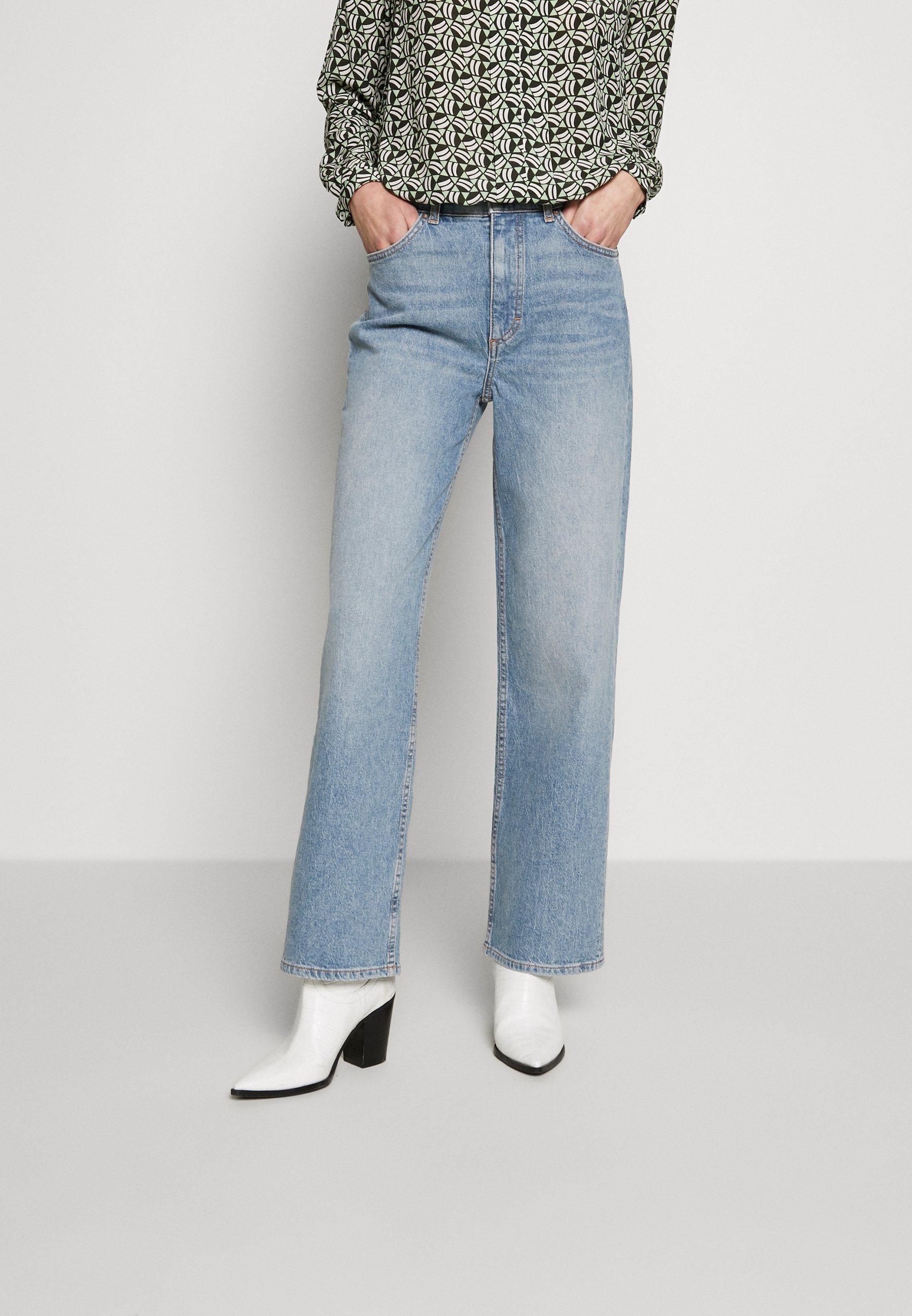 Marc O'Polo TROUSERS HIGH WAIST STRAIGHT WIDE LEG REGULAR LENGTH - Jean boyfriend - light blue wash - Jeans Femme vLzU7