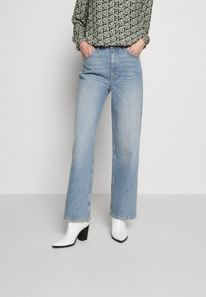 TROUSERS HIGH WAIST STRAIGHT WIDE LEG REGULAR LENGTH - Relaxed fit jeans - light blue wash