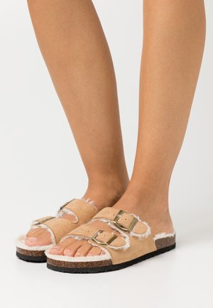 REX DOUBLE BUCKLE - Slippers - tan cream