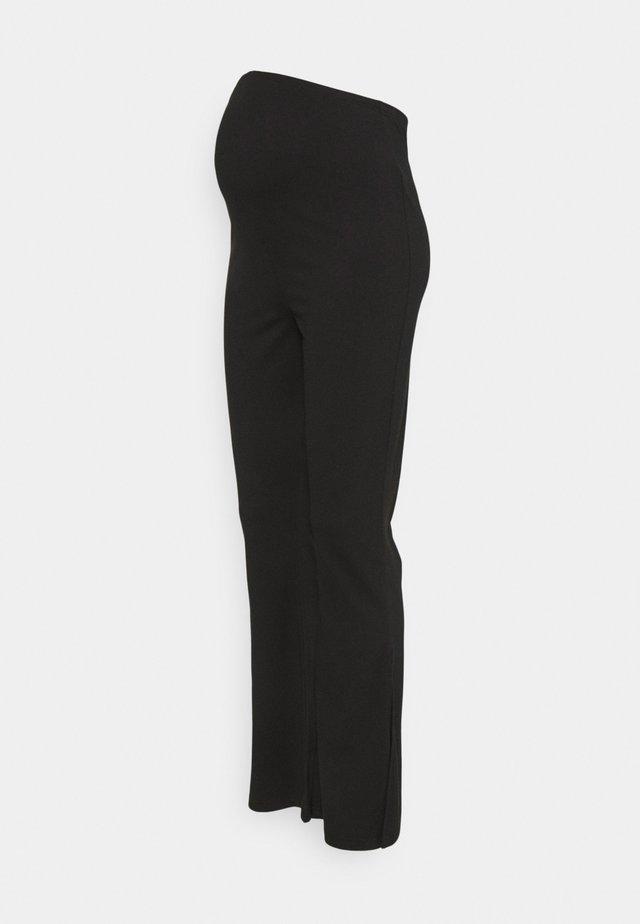 SPLIT HEM FLARES - Trousers - black