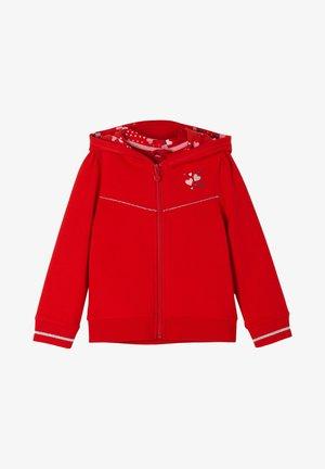 MIT BEDRUCKTER KAPUZE - Zip-up hoodie - red