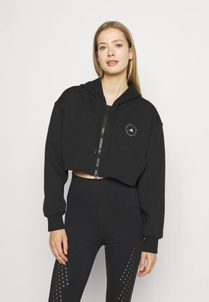 ADIDAS BY STELLA MCCARTNEY SC CR HOOD TRAINING WORKOUT PRIMEGREEN HOODED TRACK TOPHOOD - Sweater met rits - black