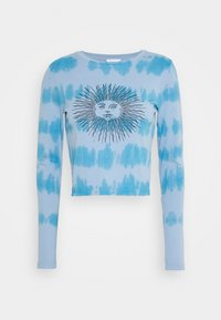 Topshop - TIE DYE SLOGAN LONGSLEEVE - Long sleeved top - blue - 0
