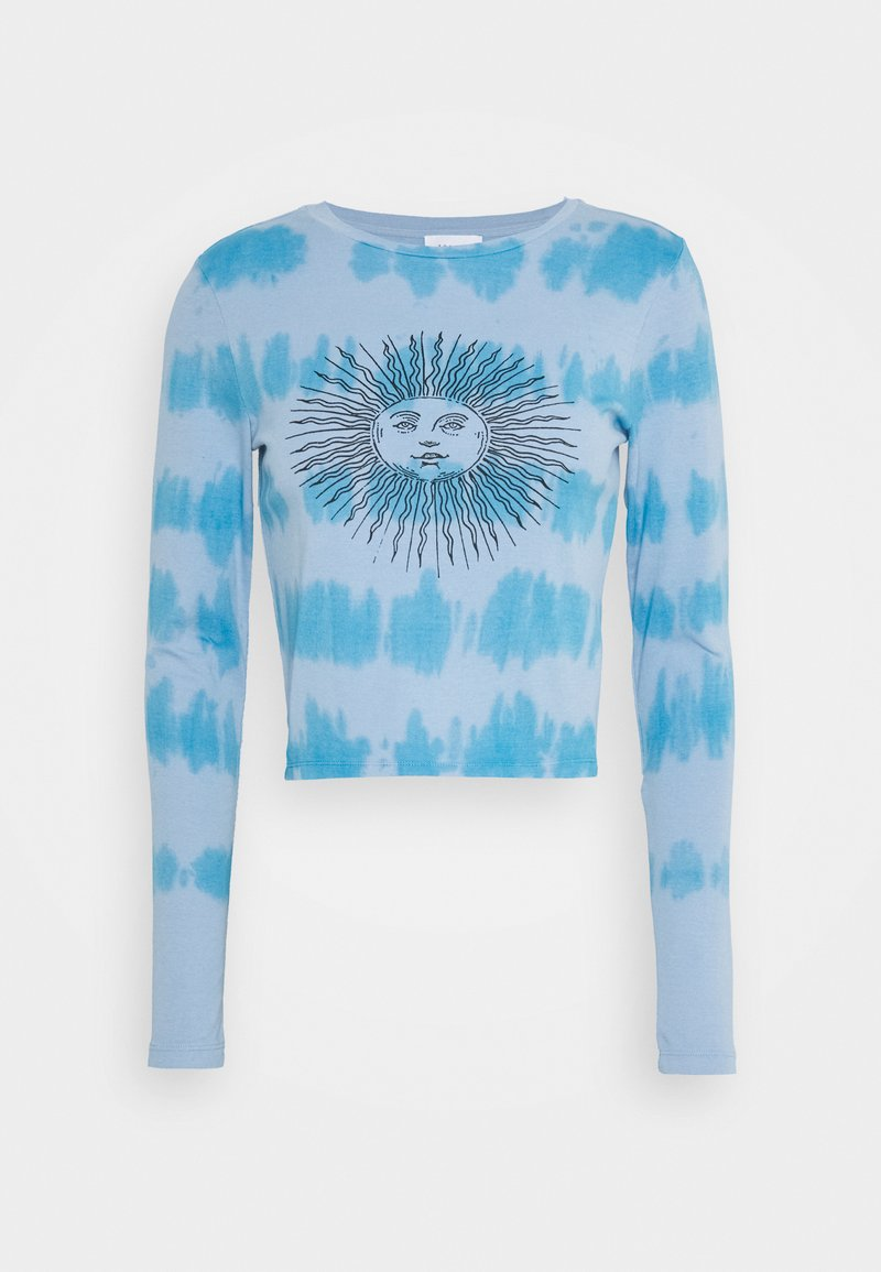 Topshop - TIE DYE SLOGAN LONGSLEEVE - Long sleeved top - blue