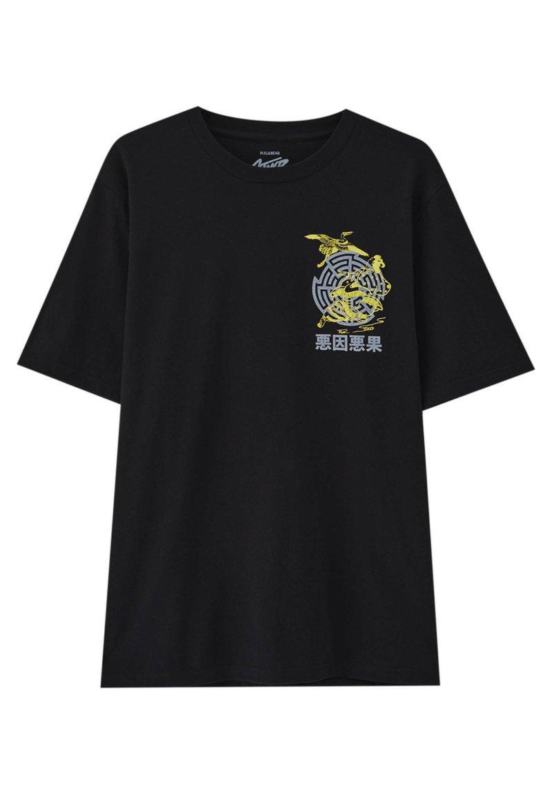 PULL&BEAR - STWD-SLOGAN - Print T-shirt - black