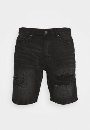 RIPPED SHORT - Jeansshort - black