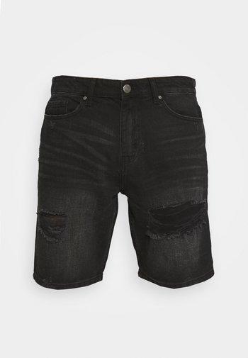 RIPPED SHORT - Szorty jeansowe - black