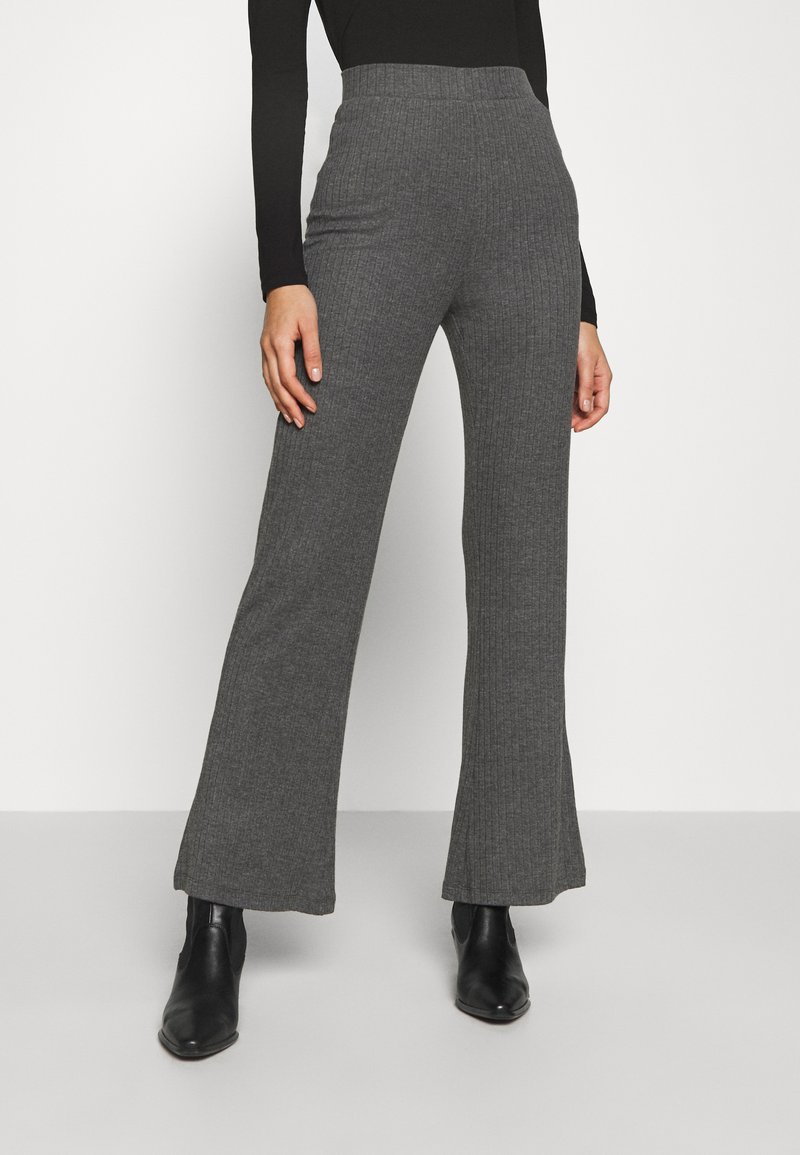 Even&Odd - RIBBED FLARE TROUSERS - Trousers - mottled dark grey