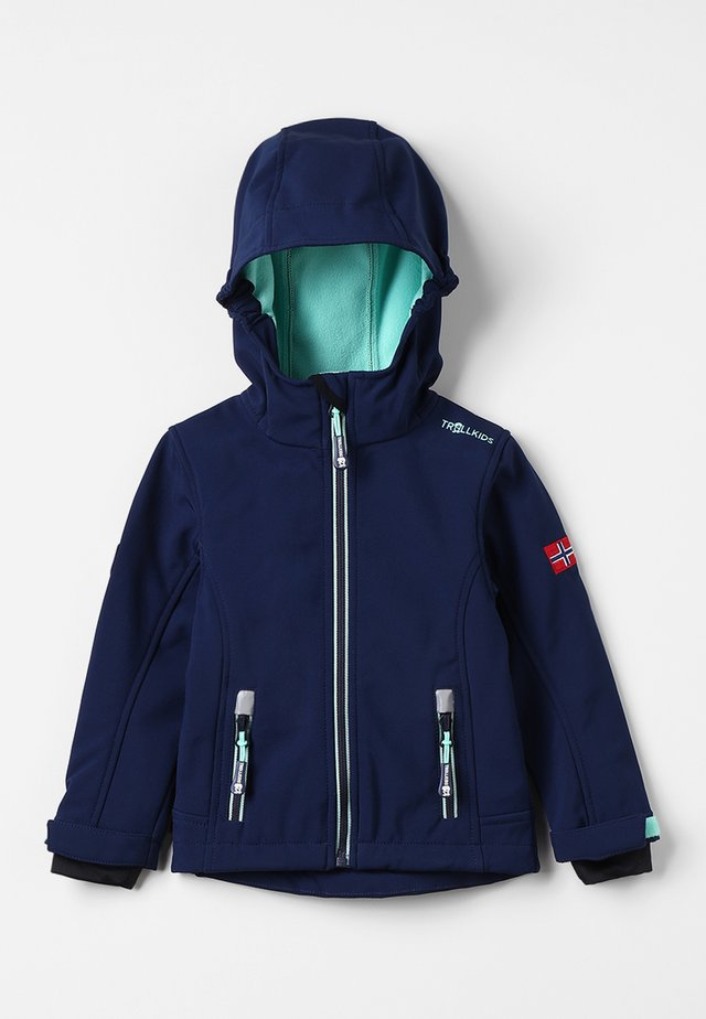GIRLS TROLLFJORD JACKET - Soft shell jacket - navy/mint