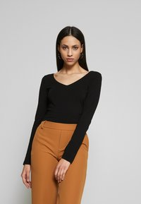 Anna Field Tall - BASIC LONG SLEEVE TOP - Bluzka z długim rękawem - black - 0