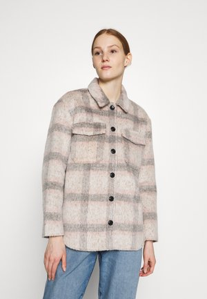 ONLKAWI CHECK SHACKET - Short coat - light grey melange/pink/grey