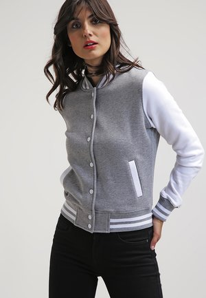 LADIES 2-TONE COLLEGE SWEATJACKET - Summer jacket - grey/white