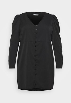 BUTTON THROUGH PUFF SLEEVE DRESS - Korte jurk - black