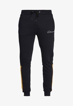CONTRAST SCRIPT JOGGER - Pantalon de survêtement - black/mustard