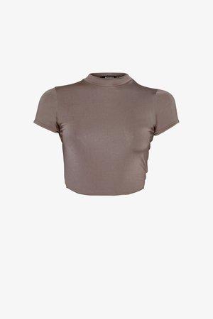SLINKY CREW NECK CAP SLEEVE CROP - T-shirt basic - nude brown
