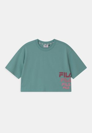 POLLY CROPPED - T-shirt print - cameo blue