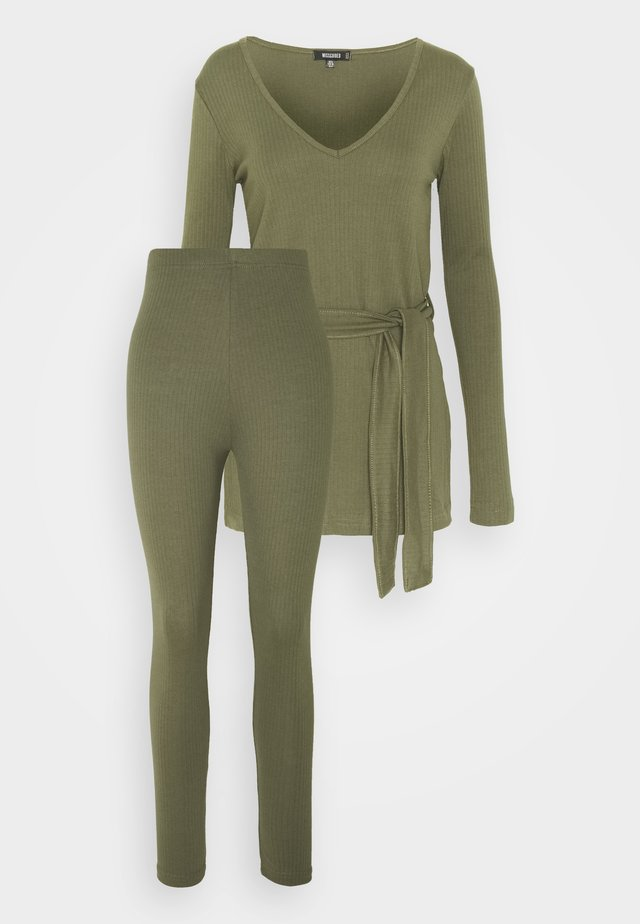 TIE WAIT SET - Leggings - Trousers - khaki