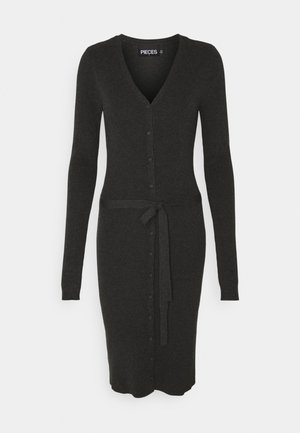 PCFRENC V NECK KNIT DRESS - Sukienka dzianinowa - dark grey melange