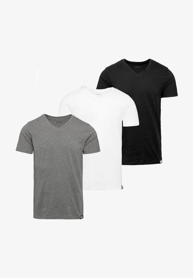 3 PACK - T-shirt - bas - black-white-grey