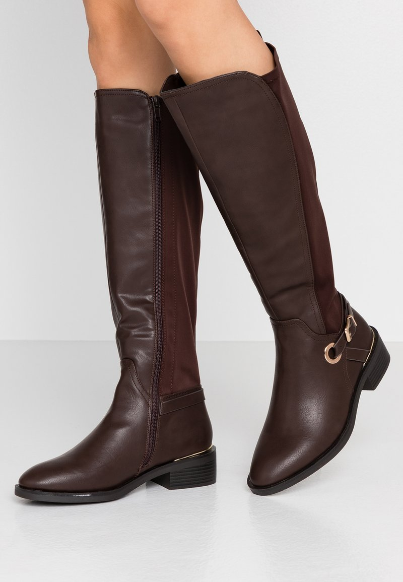 Dorothy Perkins Wide Fit - WIDE FIT KIKKA FORMAL RIDING BOOT - Bottes - choc