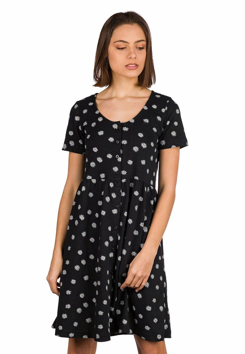 Kazane - Day dress - black/flowerprint