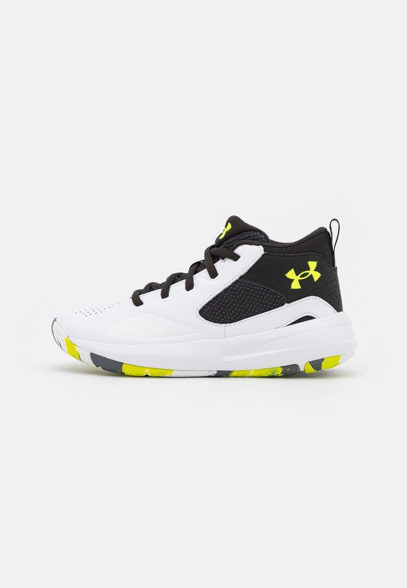 Under Armour - LOCKDOWN 5 UNISEX - Basketball shoes - white/black/yellow