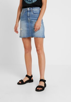HR MINI SKIRT - Denim skirt - honcho blue destroyed