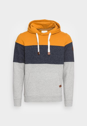 HOODIE WITH FABRIC MIX - Felpa - flame brown