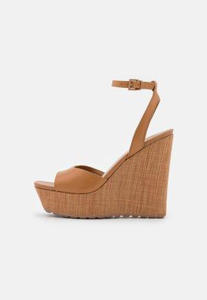 VERLY - Platform sandals - cognac