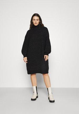 NMROBINA HIGH NECK DRESS  - Jumper dress - dark grey melange
