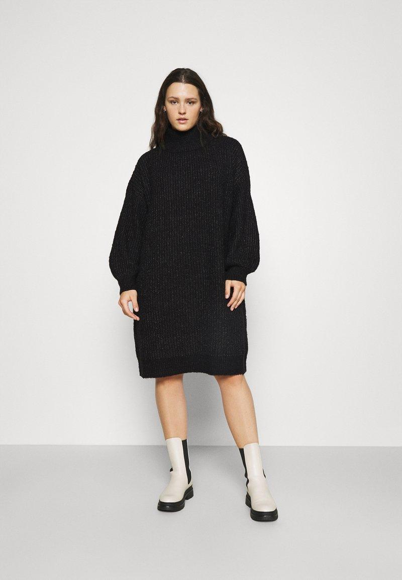 Noisy May Curve - NMROBINA HIGH NECK DRESS  - Jumper dress - dark grey melange