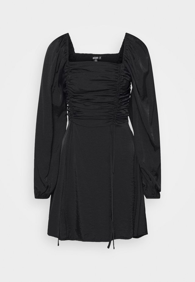 RUCHED BUST ALINE DRESS - Vapaa-ajan mekko - black