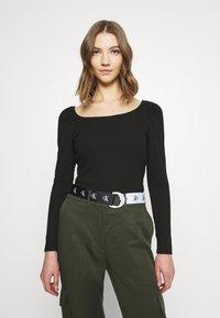 Vila - VILANA SQUARE NECK - Long sleeved top - black - 0