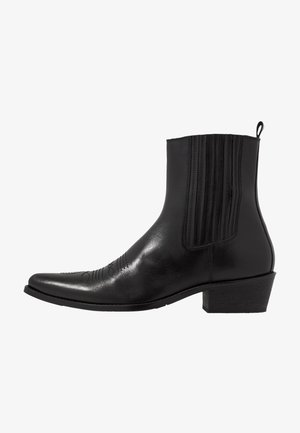 LEATHER - Cowboy/biker ankle boot - black