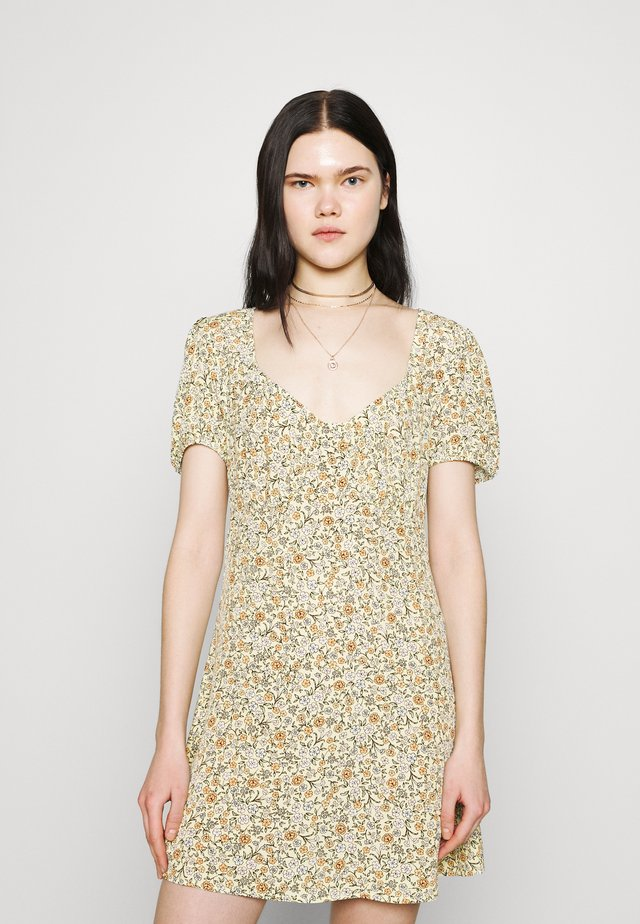 ESSENTIAL TIE BACK MINI TEA DRESS - Sukienka letnia - mishay ditsy lemon