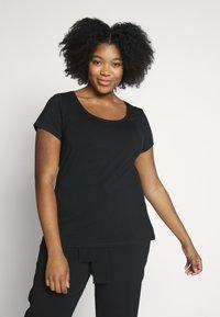 Anna Field Curvy - Basic T-shirt - black, white - 2