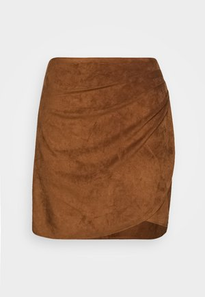 RUCHED MINI  - A-line skirt - brown