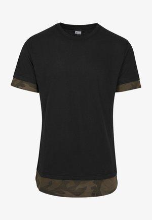 Print T-shirt - black/olive