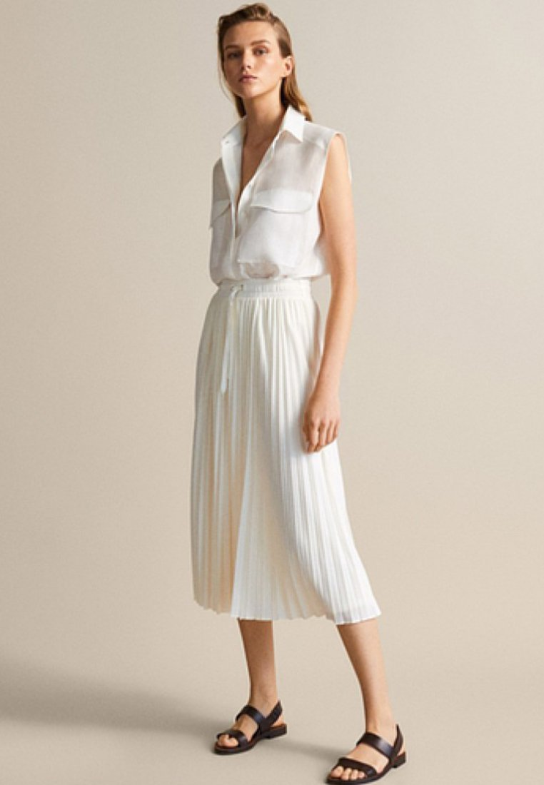 Massimo Dutti Veckad kjol beige Zalando.se