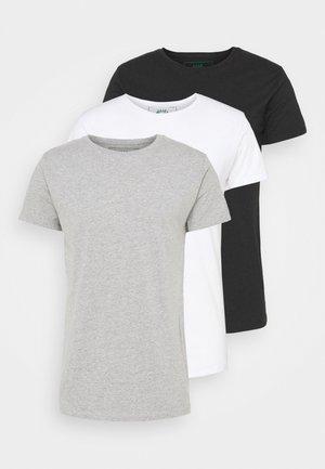 ELON  3PACK - T-shirt basic - grey/white/black