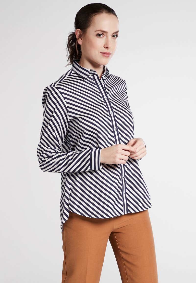 Eterna - MODERN FIT - Button-down blouse - navy blue/white