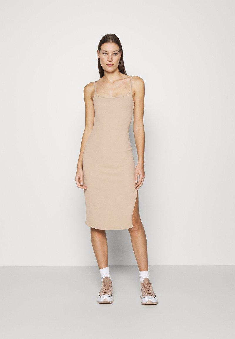 Abercrombie & Fitch - MIDI DRESS - Day dress - neutral brown