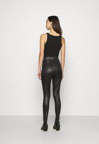 Topshop - CROC WETLOOK - Leggings - Trousers - black - 2